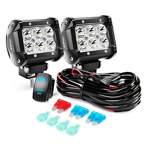 Nilight LED Light Bar 2PCS 18W Spot Led Off Road Lights 12V 5Pin Rocker Switch LED Light Bar Wiring Harness Kit, 2 Years Warranty, 2Pcs 4' Spot Lights