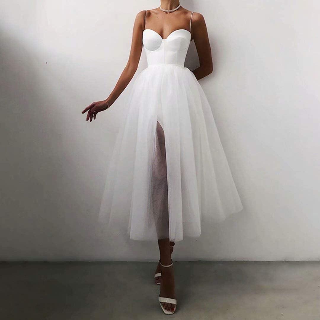 DDWW Beach Wedding Dress Women Evening Dress High Slit Bridesmaid Dresses with Straps