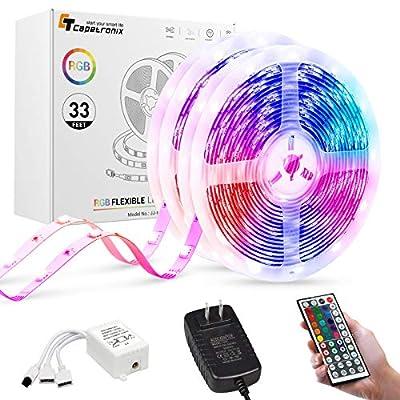 Led Strip Lights 32.8 Feet, CT CAPETRONIX 5050 RGB Led Lights Strip with Remote Control, 300 LEDs 12 Volt Led Lights for Bedroom TV Backlight Room Ceiling Kitchen Multicolor Decoration (2 X 16.4Feet)