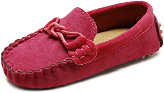 QZHIHE Toddler Loafers Little Kid Girl's Boy's Suede Slip-on Loafers Casual Flat Shoes Boat Dress Shoes