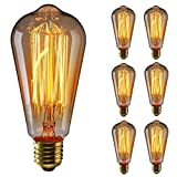 KINGSO 6 pack E27 Ampoule Edison à Incandescence Vintage ST64 60W 220V Lampe Tungstène Décorative Ampoule Filament Classique Antique Dimmable Blanc Chaud