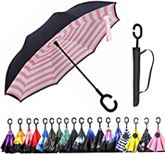 Monstleo Inverted Umbrella,Double Layer Reverse Umbrella for Car and Outdoor Use by, Windproof UV Protection Big Straight Umbrella with C-Shaped Handle and Carrying Bag (Stripe(Pink))