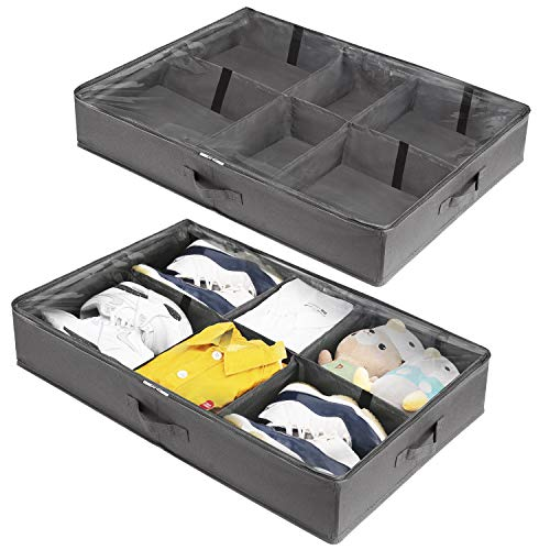 KOMEX Under-Bed Storage Organizer Adjustable Dividers Containers Box with Sturdy and Breathable 600D Oxford Cloth Materials For Kids Men & Women,Great Space Saver for Your Closet