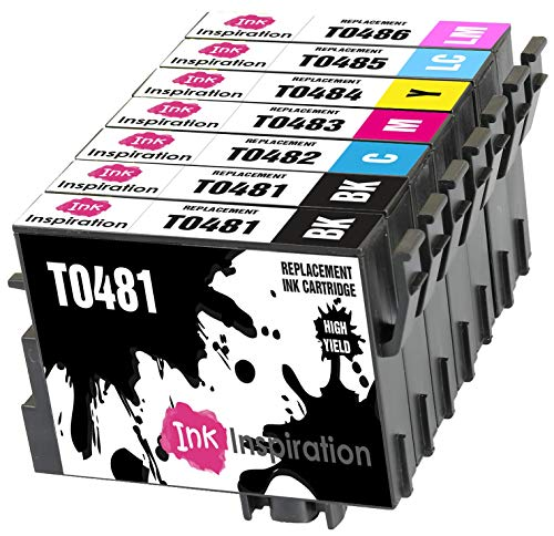 INK INSPIRATION® Ersatz für Epson T0481-T0486 (T0487) Druckerpatronen 7er-Pack kompatibel mit Epson Stylus Photo R300 R220 R340 R200 R320 RX620 RX640, Schwarz/Cyan/Magenta/Gelb/Cyan Hell/Magenta Hell