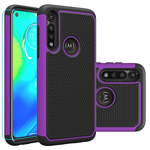 Moto G Power Case, Motorola G Power Case with HD Screen Protector,Giner Dual Layer Heavy-Duty Military-Grade Armor Defender Protective Phone Case Cover for Motorola Moto G Power 2020 (Purple Armor)