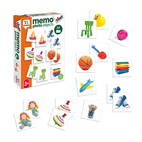 Diset Memo Photo Objects - Gioco educativo di memoria per bambini da 3 anni