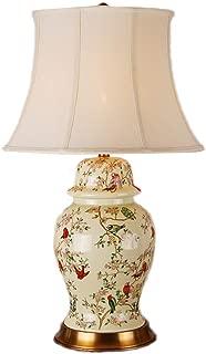 WFM American Table Lamp Living Room Bedroom Bedside Lamp Table Lamp Painted Color Flower Bird Ceramic Desk Lamp