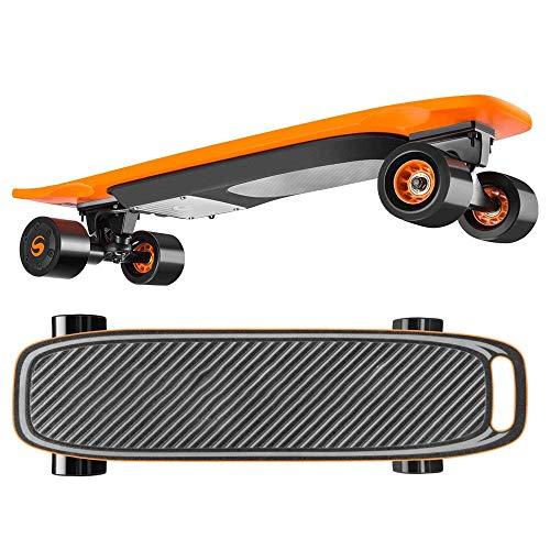 Elektro-Cruiser Brett, elektrisches Skateboard for Jungen und Mädchen, Höchstgeschwindigkeit 20 km/h, Skateboard QIANGQIANG (Color : Orange)
