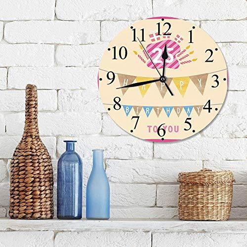 12 Zoll Wall Clock Modern Lautlos Wanduhr 25. Geburtstag Dekorationen, rosa Rahmen niedlichen Flaggen mit Buchstaben brennende Kerzenhalter Gesche,für Wohn- /Schlaf-Kinderzimmer Büro Cafe Restaurant