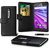 iPro Accessories® Motorola Moto G3 Case - Funda delgada con tapa para Motorola Moto G3 Smartphone (Negro)
