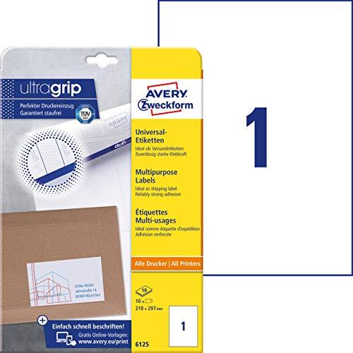 AVERY Zweckform 6125 Universal Etiketten (mit ultragrip, 210 x 297 mm auf DIN A4, Papier matt, bedruckbar, selbstklebend, 10 Klebeetiketten auf 10 Blatt) weiß