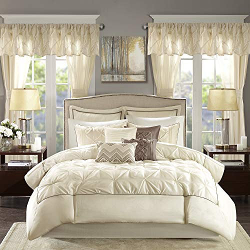 """Madison Park Essentials Room in a Bag Faux Silk Comforter Set-Luxe Diamond Tufting All Season Bedding, Matching Curtains, Decorative Pillows, Queen(90""""x90""""), Ivory"""