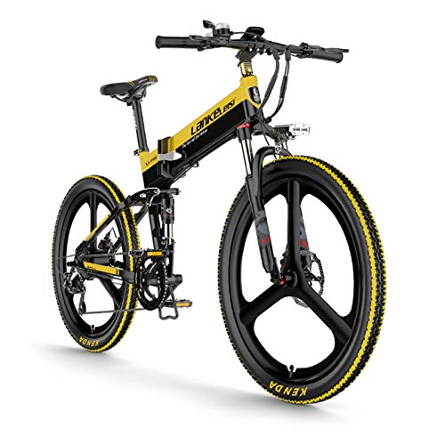 Lixada Elektrofahrrad 400W 26-Zoll-Klapp-Power-Assistent E-Bike mit elektrischem Fahrrad, 10,4 Ah Batterie, 100 km Reichweite Schwarz