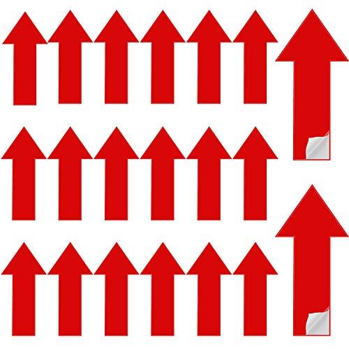 30 Stück abnehmbare Pfeil-Aufkleber, selbstklebende Richtungspfeil-Aufkleber, Verkehrsflussführungsmarkierung, temporäre Boden- und Wand-Pfeil-Schild, 30 x 15 cm (rot)