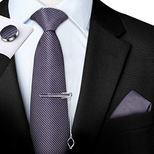Herren Krawatte Set - Seide Klassische Herren Krawatte mit Einstecktuch & Manschettenknöpfen & Krawatte & Einstecktuch - Handgemachte Kunstseide in Designs inkl. (Mehrere Designs), Grau