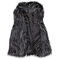 Yvelands Chaleco de Lana de Mujer Chaleco de Piel sintética Collar de pie Chaleco de Abrigo de Piel sintética Abrigo, L