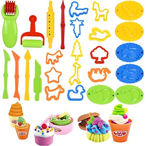 NATUCE Herramientas de Plastilina, 26 Piezas Herramientas Plastilina Playdoh para Niños, Moldes Plastilina, Juego de Herramientas de Plastilina el Plastico