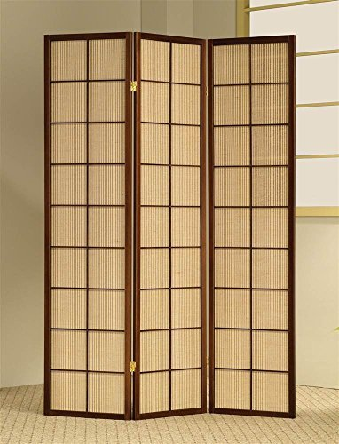 ADF 3-Panel Shoji Screen with Brown Fabric Inlay by ADF