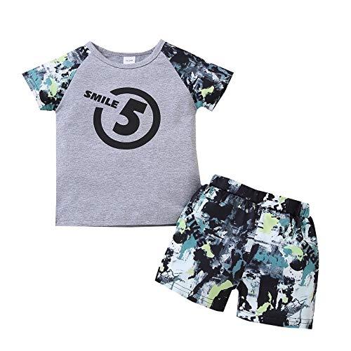 Bebé 2 Piezas Traje de Ropa Deportiva para Niño Pequeño Conjunto Informal Chándal Camiseta de Manga Corta / Chaleco + Pantalones Cortos Ropa Verano para Chicos (Gris & Camuflaje, 2-3 Años)