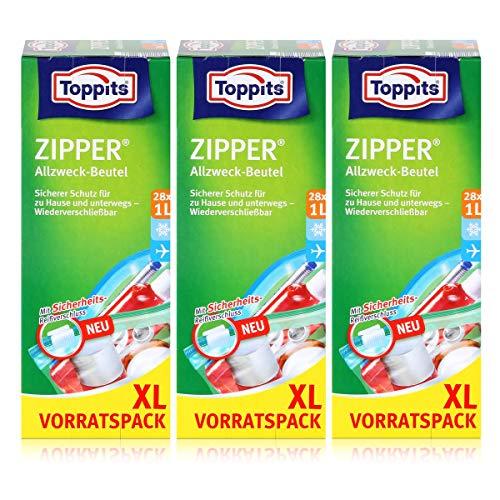 Toppits Zipper Allzweck-Beutel 20x15cm - Vorratspack XL 28x1 Liter (3er Pack)