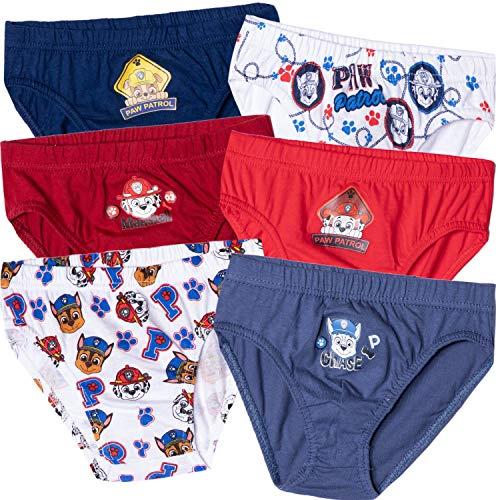 6 Stück Nickelodeon Paw Patrol Charaktere Original Jungen Unterwäsche Slips Unterhosen 100% Baumwolle Chase Marshall – 2–8 Jahre Gr. 2-3 Jahre, Paw Patrol - ein
