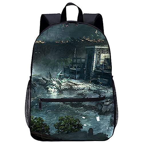 3D Escolar Mochila con mochila escolar Ciencia ficción Doom Adecuado para: estudiantes de primaria y secundaria, la mejor opción para viajes al aire libre Tamaño: 45x30x15 cm   17 pulgadas mochila