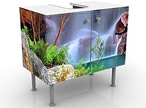 Apalis Waschbeckenunterschrank Summer Fairytale 60x55x35cm Natur Wald Wasserfall Bäume, Größe:55cm x 60cm