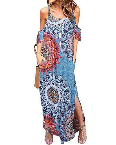 ACHIOOWA Maxikleid Damen Off Shoulder Kurzarm Floral Lange Sommerkleider Loose Trägerkleid Blumen2 XXL