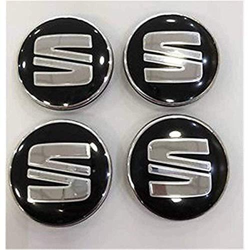 Coche 4 Piezas 60mm,Tapas centrales Aleación Tapacubos con Emblema De Insignia Embellecedor Central De Llanta De Rueda Cubre Accesorios, para Seat Ibiza Leon