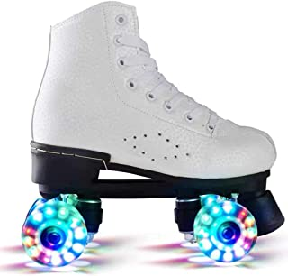 Skates, Skates With Led Lights, Double-Row Skates, Four-Wheeled Adult Two-Wheeled Skates,35-White Leisure And Entertainment