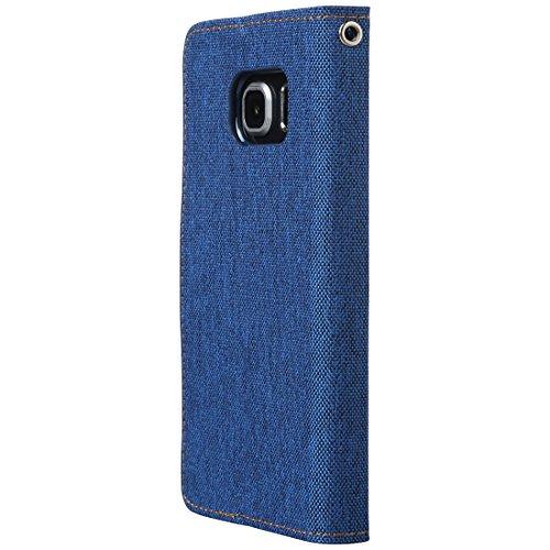 Ultratec Funda protectora para Samsung S6 edge con efecto lino, con función de soporte y compartimentos interiores, azul oscuro
