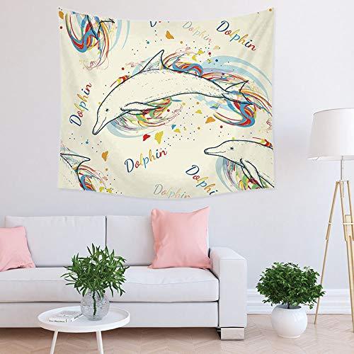 Tapiz De Pared Animal,Tapiz De Delfín Para Colgar En La Pared,Tela De Impresión De Decoración Artística Para Dormitorio,Dormitorio Universitario