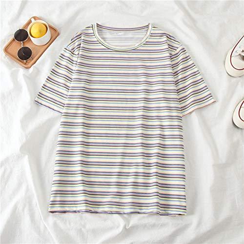 T-Shirt Doux rayé décontracté lâche Femmes Top Pull Femme Vogue Base Tee Shirt été-Blanc_XXL