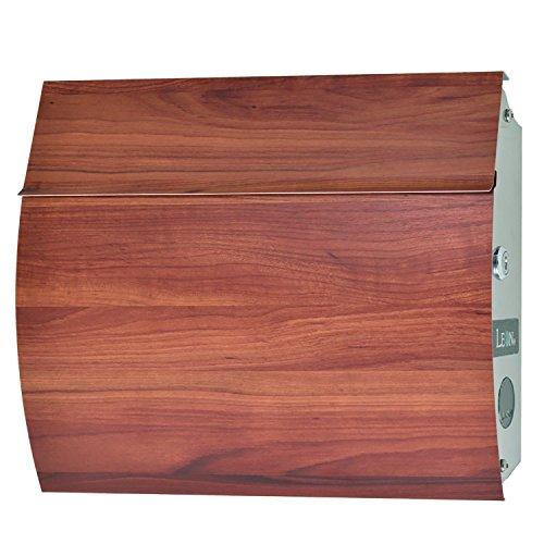 LEON (レオン) MB4801 郵便ポスト 壁掛けタイプ ステンレス製 鍵付き おしゃれ 大型 ポスト 郵便受け (マグネット付き) (MAIL BOXシート無し) 木目調プラムウッド