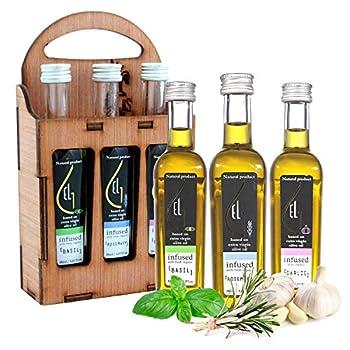 Pellas Nature   Organically Infused Olive Oil Set   Finishing Oil   Basil   Rosemary   Garlic   Wooden Gift Set   3 X 1.7oz Bottles