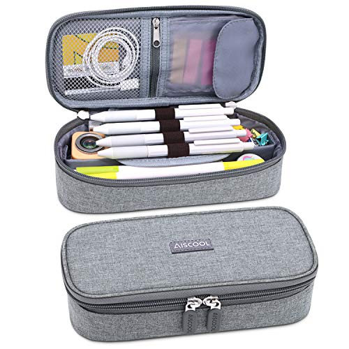 Aiscool Big Capacity Pencil Case Holder Canvas Bag Pen Organizer Pouch Stationery Box Oxford Cloth Large Storage for School Supplies School Office Stuff Gray