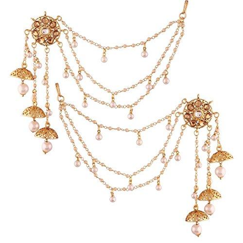 I Jewels Pendientes de perla chapada en oro Jhumki con cadena de pelo para mujer (E2608FL)