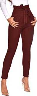Ohvera Women's All Occasions Paper Bag Waist Pants Trousers with Tie Pockets