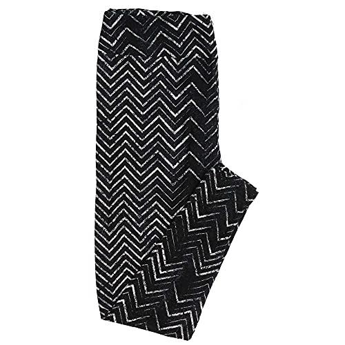 Lularoe TCTWO TC2 Gray Black White Herringbone Zig Zag Stripe Buttery Soft Womens Leggings fits Adults Sizes 18-26 TCTWO-9050-E-15