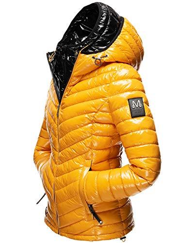 Marikoo Damen Winter Jacke Outdoor Steppjacke Trend Lennjaa (Gelb/Schwarz, 34 / XS)