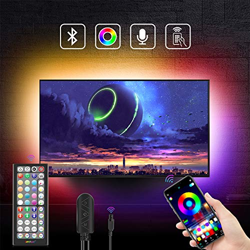 Nexillumi 6.56ft TV LED Backlight for 24''-60'' TV with Bulit-in Mic Music Sync Remote App Control Color Changing RGB LED Strip Lights USB Powered(6.56Ft + 3.2Ft Wires APP Control+ Remote+ Mic)