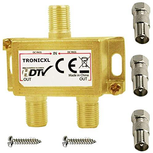 TronicXL 2-Fach BK Verteiler Premium TV Kabel Adapter Antennenverteiler Kabelfernsehen DVBC zb für Unitymedia Splitter Unicable