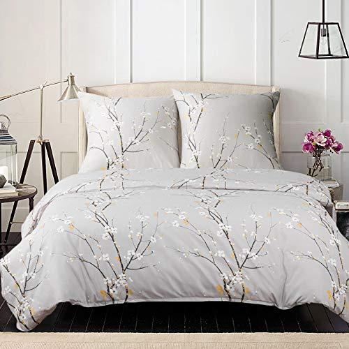 Bedsure Baumwolle Bettwäsche 135x200 cm Hellgrau Bettbezug Set mit schickem Pflaumenblüte Muster, 2 teilig weiche Flauschige Bettbezüge mit Reißverschluss und 1 mal 80x80cm Kissenbezug