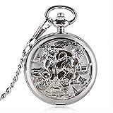 KaiKai WatchStyle Bolsillo del dragón de Cuerda Manual Reloj de Bolsillo de la Moda del Kirin Hueco Colgante mecánico con Fob Cadena de la Mujer del Hombre Regalo (Color : Silver)