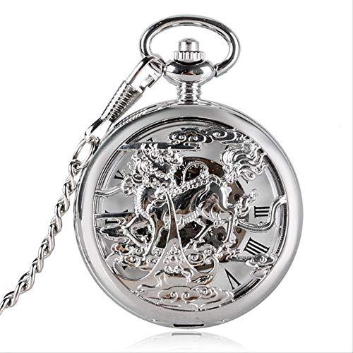 Reloj De Bolsillo del Dragón del Estilo De Cuerda Manual Reloj De Bolsillo De La Moda del Kirin Hueco Colgante Mecánico con Fob Cadena De La Mujer del Hombre Regalo
