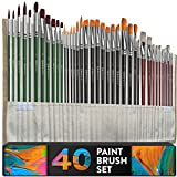 Professional Artist Paint Brush Set of 40 with Storage Case - Includes Round and Flat Art Brushes with Hog, Pony, and Nylon Hair Bristles - Perfect for Acrylics, Watercolor, Gouache, Oil and Fabric