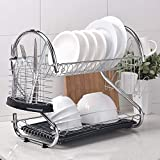 TREE.NB 2 Tier Stainless Steel Dish Rack with 2 DrainBoard Drying Rack Plate