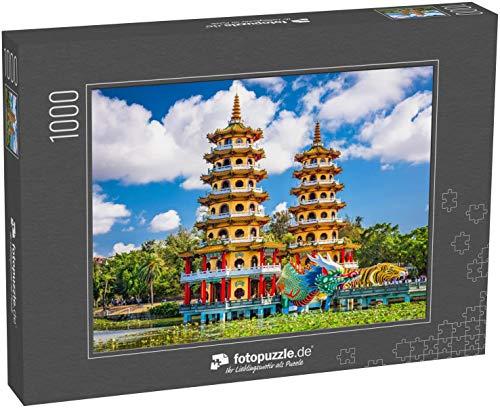 Puzzle 1000 Teile Kaohsiung, Taiwan Lotus Pond's Dragon und Tiger Pagoden - Klassische Puzzle mit edler Motiv-Schachtel, Fotopuzzle-Kollektion 'Asien'