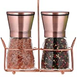 bonris Copper Stainless Steel Salt and Pepper Grinder Set Manual Himalayan Pink Salt Mill|Salt and Pepper Shakers with Adjustable Coarseness and Clear Glass Body (Pack of 2) (SHORT)