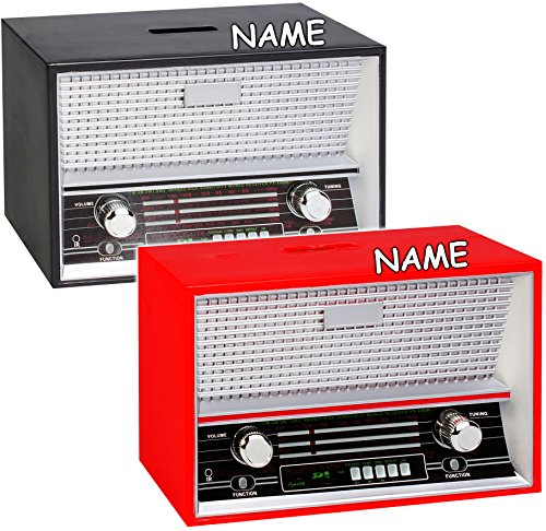alles-meine.de GmbH 1 Stück _ XL Spardose -  Radio - Retro & Nostalgie - Farbmix  - incl. Name - Radiogerät - stabile Sparbüchse aus Kunststoff / Plastik - Musikboxen - Konzert..